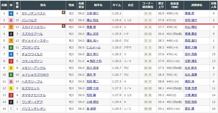 2021年4月11日阪神競馬場2レースの結果